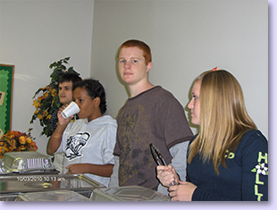 youth group serving food