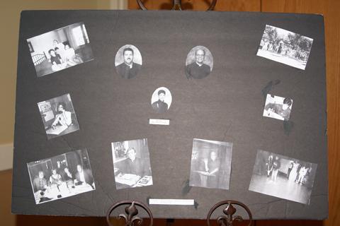 photo collage on bulletin board